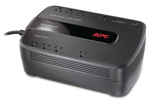 APC BACK-UPS BE650G1 650VA/390W Battery Backup System, 4 x NEMA 5-15R - Surge-protected