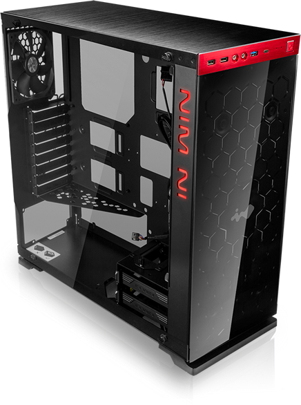 In-Win 805 Incredibly Dynamic Visual Effects Black/Red Color Tempered Glass Window Tower Case w/USB 3.0 NO POWER SUPPLY
