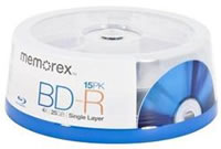 Blu-Ray Media - MEMOREX 4X BD-R 25GB 15PACK