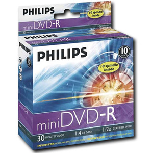 DVD MEDIA - PHILIPS 4X DVD-R MINI DISC 1.46GB 10/PK