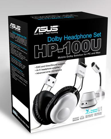 ASUS HP-100US Silver DOLBY HEADPHONE SET HEADPHONE + XONAR U1 + MIC Retail Box