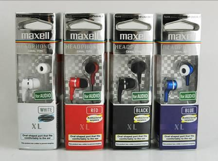 Maxell Red XL Canal Type for Audio Headphone Antibacterial earpiece Comfortably to the ear (30 days Warranty)