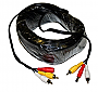 50Ft CCTV Cable For Security Camera w/2-RCA & Power Connector SEQ2050A